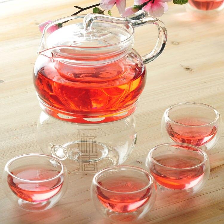 Théière en verre élégante 500 ml avec infuseur/filtre + 4/6 tasse, réchauffeur, bougie, ensemble de café pour thé chinois/Oolong/blanc/matcha/noir puer
