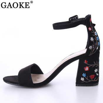 2018 Sexy women sandals open toe embroidery heels classic buckle strap platform woman sandals gladiator shoes women high heels