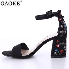 2018 Sexy women sandals open toe embroidery heels classic buckle strap platform