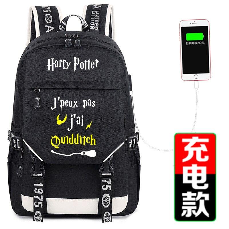 Harri Potter impression sac à dos poudlard gryffondor Hufflepuff école sac à dos USB charge sac à dos pour ordinateur portable toile sacs de voyage