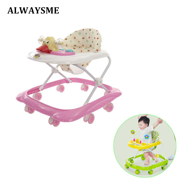 ALWAYSME 6-18 Months Baby Walker Baby Balance First Steps Walker Kids Toddler Early Educational Trolley Learning To Stand Walker