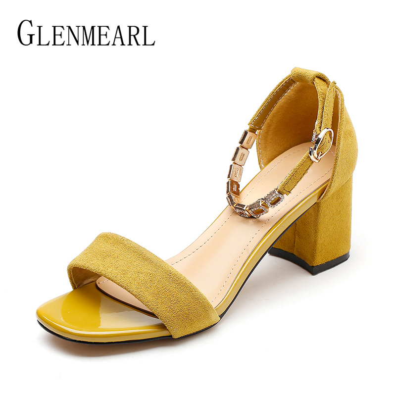 Women Sandals Brand Summer Sexy High Heels Shoes Plus Size Open Toes Buckle 2018 Suede Female Heels Party Wedding Sandals Shoes цена