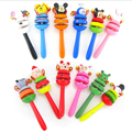 Colorful  Newborn Wooden Rattles Cartoon Baby Handbell  Kindergarten Crib Toy  Baby Education Toys brinquedo infantil