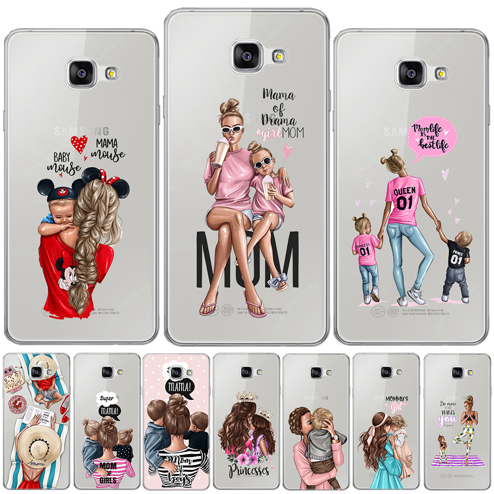 Black Brown Hair Baby Mom Girl Queen Silicon Cover For <font><b>Samsung</b></font> <font><b>Galaxy</b></font> A3 A5 A7 2016 2017 A9 A6 <font><b>A8</b></font> Plus A7 2018 A50 Soft TPU <font><b>Case</b></font> image