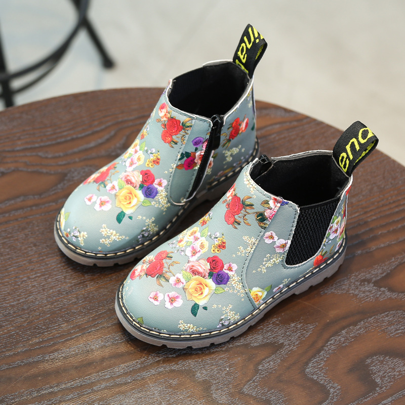 Girls Autumn Winter Martin Boots Floral Flower Print Shoes Ankle Boots