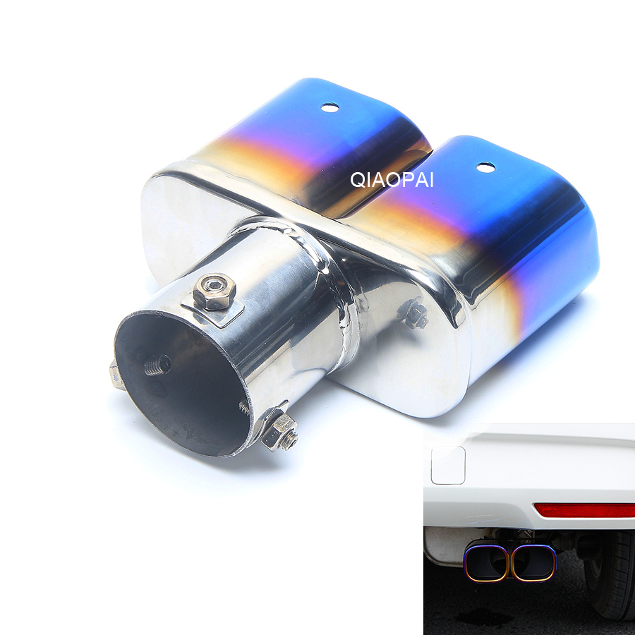 Modified Car Exhaust Muffler Chrome Trim Rear Muffler Tip Pipe Stainless Steel Double Exhaust Tail Turbo Sound For Volkswagen in Mufflers from Automobiles Motorcycles