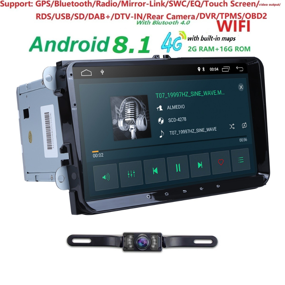 2G + 16G 2din Android 8.1 voiture No-Dvd pour VW Passat B5 B6 Golf 4 5 Tiguan Polo Skoda Octavia autoradio rapide multimédia + carte + caméra