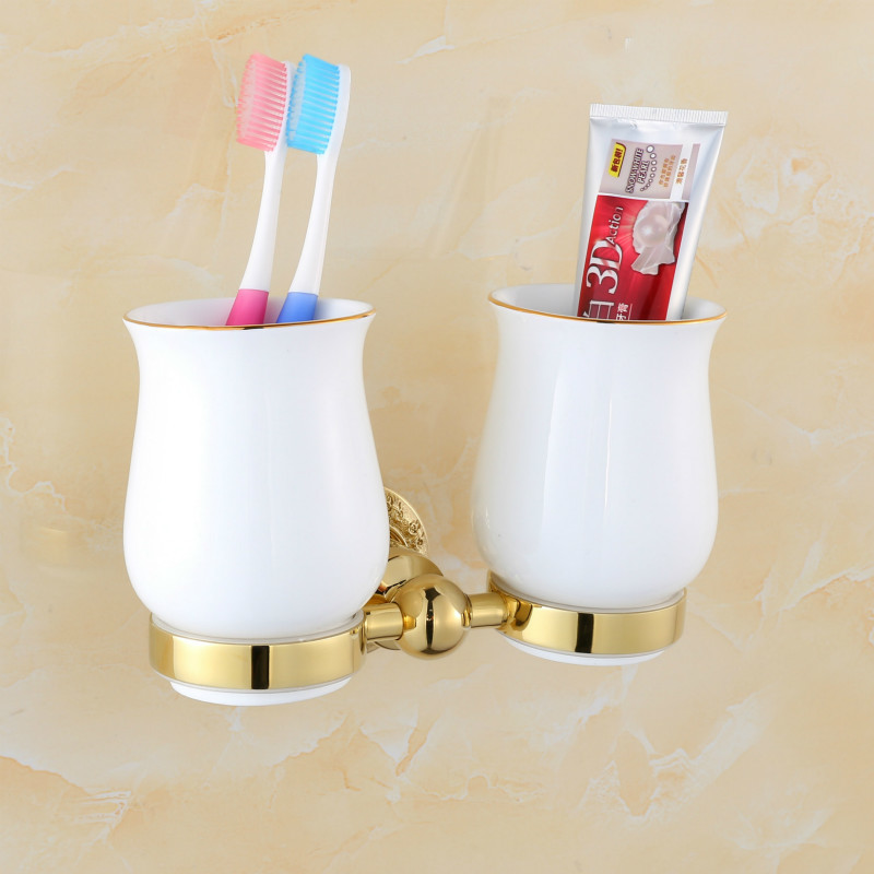 ФОТО  bathroom rack rose gold cup double cup holder carved exclusive new creative lovers cup