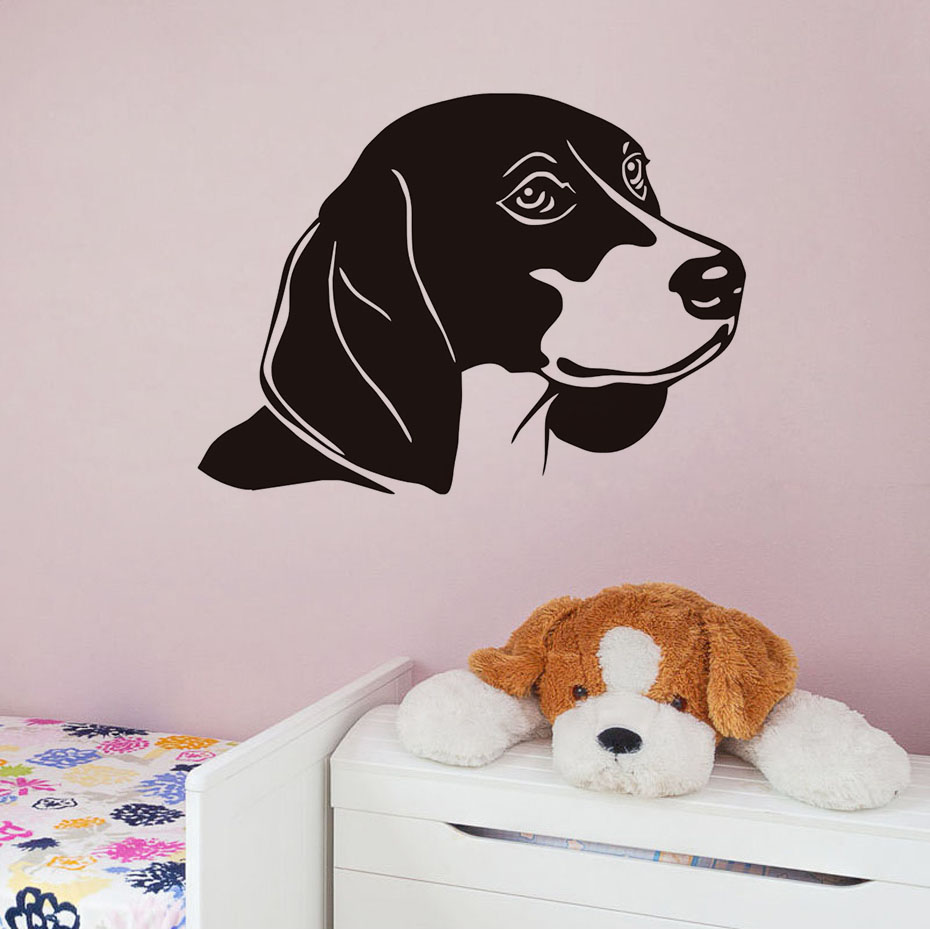 Vivid Dog Wall Sticker Baby Bedroom Wall Decal Hollow Out Vinyl Removable Beagle Art Mural For