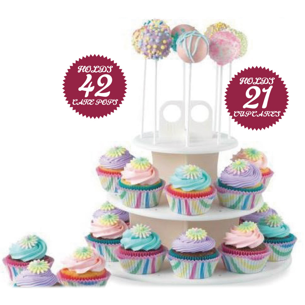 High Quality 3 Tiers Snack and Cake Server 21pcs Cupcake Stand 42pcs Cake Stands Lollipop Holder white round assemble K068
