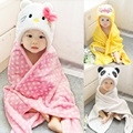 3D Animal Baby Blanket Neonatal Hold Flannel Hooded Swaddling Toddlers Infant Envelope Charactor Newborns Hood Bathrobe Towel