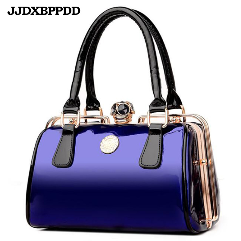 Women Frame Handbag Patent Leather Shoulder Bag Ladies Designer Handbags High Quality Large Capacity Tote Crossbody Bags european style quality pu leather handbags women s designer handbag 2018 fashion new ladies high capacity tote bag shoulder bags