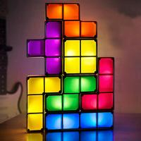 Night Light Lamp Creative Tetris Shape Constructible Retro Stackable Desk LED Night Light Table Bed Lamp