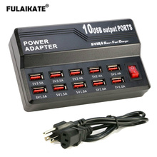 FULAIKATE 10-port USB Smart Charger Socket Porous 5V/12A Multi-port Power Adapter for iPad Tablet Mobile Phone