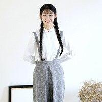 간단한 스타일 봄 여성 블라우스 신선한 레드 버클 크루 넥 긴 소매 화이트 색상 여성의