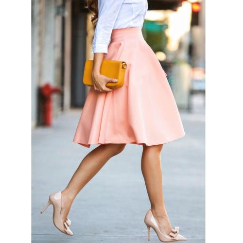 Kobiety spódnice w stylu Vintage wysoka talia panie Stretch MIdi miękkie rozkloszowana plisowana huśtawka różowy jednolity kolor spódnica lato 2019 spódnice dla pań