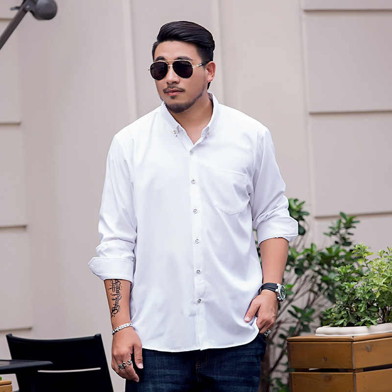 Homem Plus Size 6XL 7XL 8XL 9XL Manga Comprida Sólidos Camisas Dos Homens Vestido formal Grande Branco Camisas Sociais Mens Roupas casamento feito sob encomenda