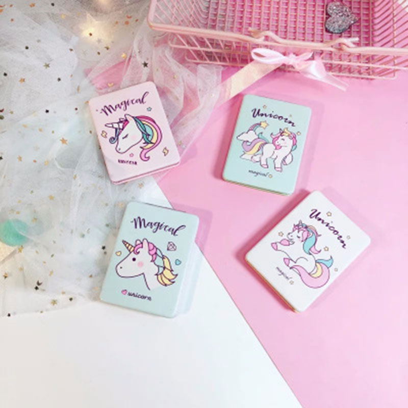 Einhorn Spiegel Cartoon Platz Folding Spiegel Tasche Doppel Seite Kosmetik Spiegel Schönheit Machen Up Miror Rosa/grün Schönheit & Gesundheit