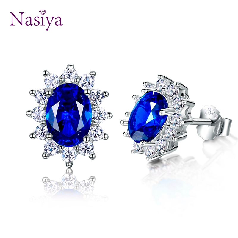 Women Stud Earrings With AAAAA Royal Blue Green Light Blue Spinel Zircon Oval 925 Sterling Silver Snowflake Earring WholesaleWomen Stud Earrings With AAAAA Royal Blue Green Light Blue Spinel Zircon Oval 925 Sterling Silver Snowflake Earring Wholesale