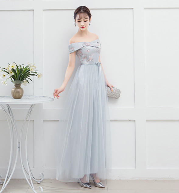 Blue Grey Wedding Party Dress Women Dress For Bridemaide  Off The Shoulder Back Of Bandage For Woman Wedding Guest Dress Sexy