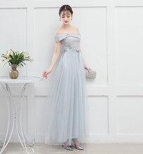 blue grey Wedding Party Dress Women Dress for Bridemaide  Off The Shoulder Back of Bandage light grey off the shoulder top