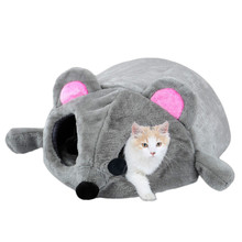 Hoopet Pet Bed Warming Grey Mouse Shape Cat House Soft Material Cat Nest Bed Dog Baskets Kennel For Cat Puppy Waterproof Bottom платье grey cat grey cat mp002xw025uo
