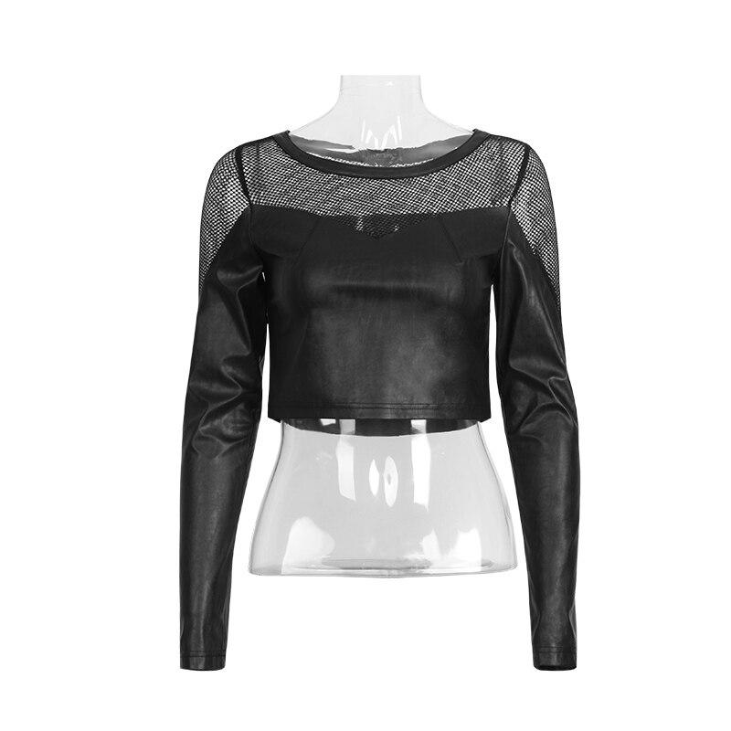 shirt Épissage T 410 tee T Noir Rave Maille Pu Courtes Style Punk IqxSw08C6