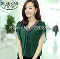 Plus size M-XXXXL 2015 New Summer  women top Fashion Slim Women's blouses  Chiffon Shirt Short-sleeve Female V-neck  942