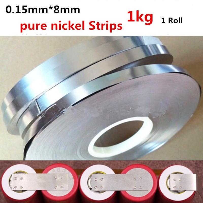 0.15x8mm 1 kg/rouleau bande de Nickel pur 99.96% pour la machine de soudage par points de batterie