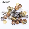 Wholesale 500pcs Antique Silver Gold Filigree Metal Flower Bead Caps Jewelry Findings 6mm for Jewelry Making