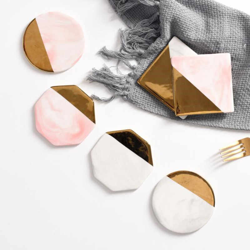 Cfen A S Marble Grain Coasters Ceramic Coaster Coffee Tea Cup Pad
