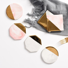 Luxury Marble Pink Gold Quality Ceramic Stand Coffee Tea Cup Mat Pad Porcelain Drink Coasters Placemat Russian Local Delivery nordic style lovely pink gold marble pattern coaster ceramic drink coasters cup mat marble decor