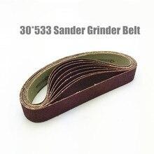 10 Pz Dremel Accessori 30*533mm Nastro Abrasivo Grit 40 600 Sander Cintura Grinder per Drill Grinding lucidatura Strumento di Potere