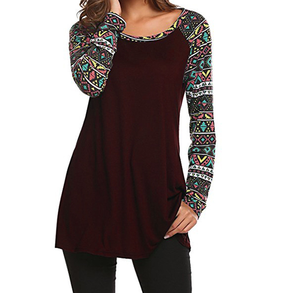 FREE OSTRICH Women's Casual O Neck Geometric Basic Long Sleeve Tunic Tops T-Shirts Spring Autumn Women 2019 O Neck T Shirt C2335