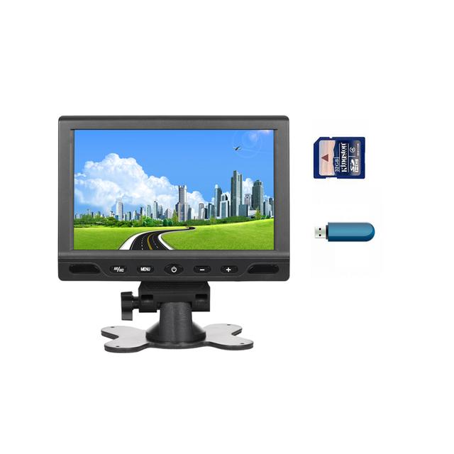 7 Pulgadas a Color TFT LCD de Pantalla Táctil Botón DC 12 V Del Coche de Visión trasera Reposacabezas Monitor Para DVD Revertir MP5 Cámara USB de la Ayuda SD