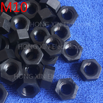 M10 1 pcs black nylon hex nut 10mm plastic nuts Meet RoSH standards Hexagonal PC Electronic accessories Tools etc high-quality image