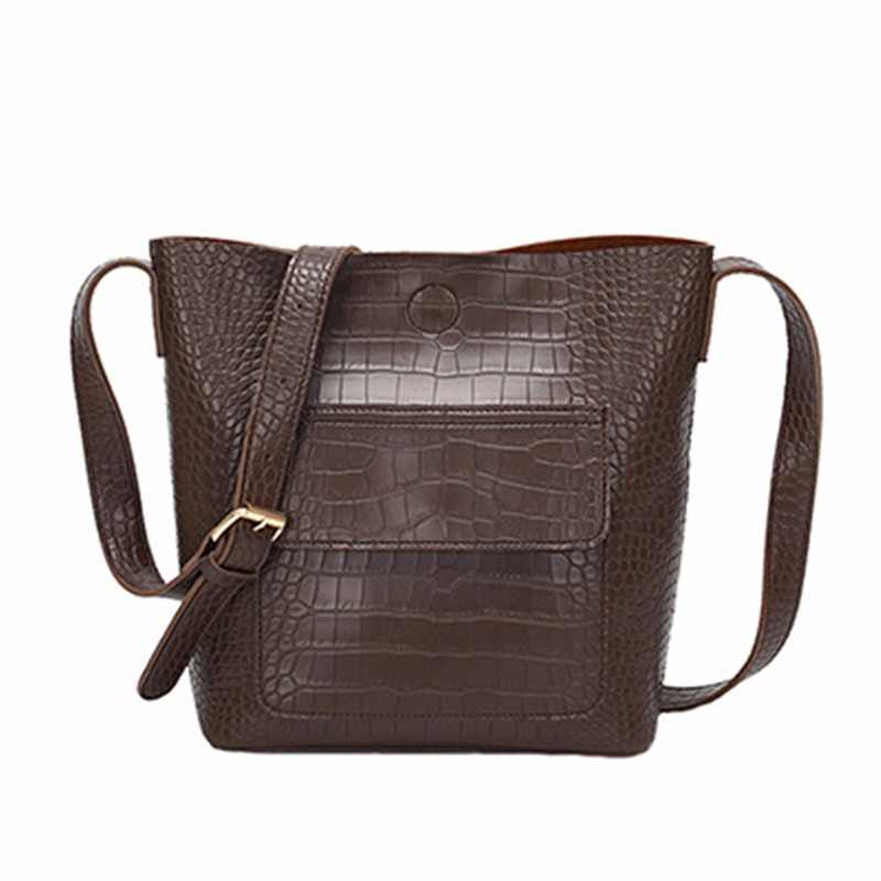 Fashion Crocodile Pattern Women Crossbody Bag Luxury Flap Pocket Shoulder Bag Adjustable Strap Pu Leather Female Messenger Bag