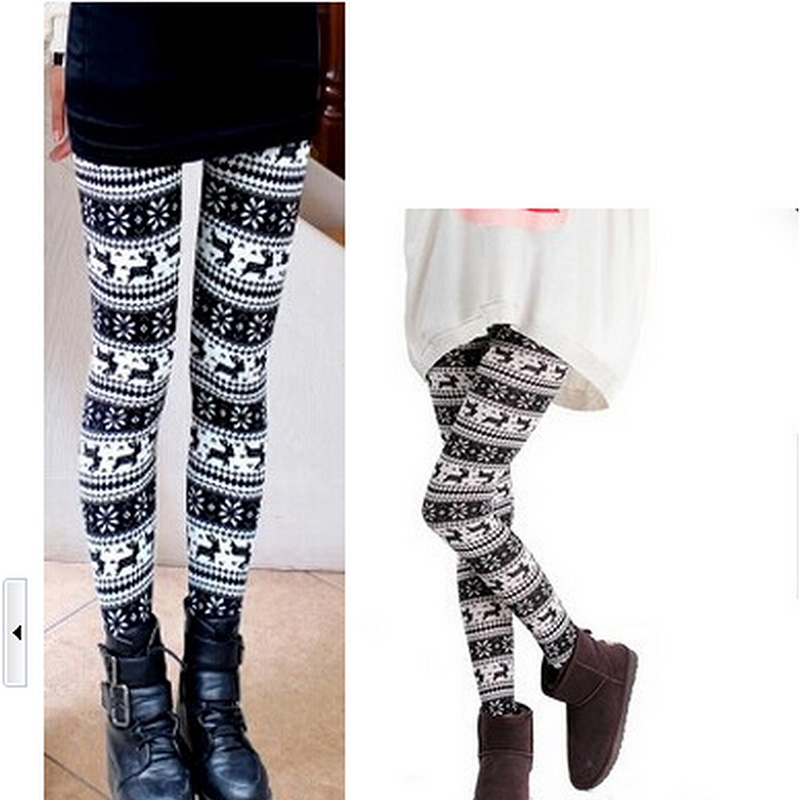 Fashion Deer Snowflakes Printed One Size   Leggings   for Female Women's Warm Trousers Elastic Waist Pencil Pants