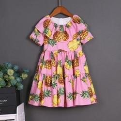 2017 Summer children clothes women kids girls family matching mother daughter dresses lady A Dress Pineapple Print Short Sleeves