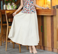 2017 Summer New High Waist Cotton And Linen Pleated In The Long Section Of Sweet Pompong