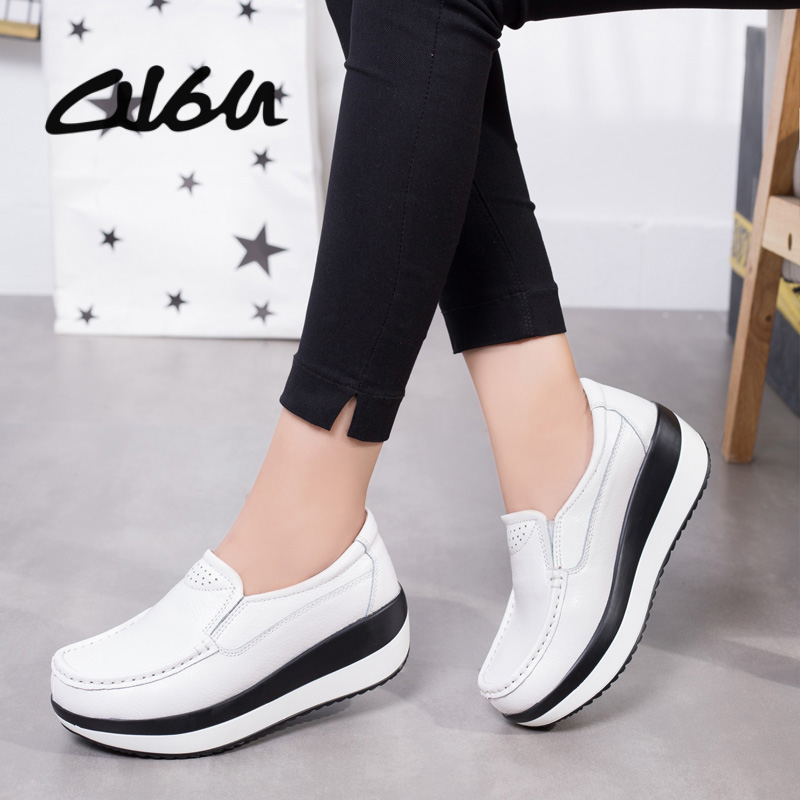 O16U Spring Women Flat Platform Shoes Genuine Leather Casual Shoes Sneakers Women Lace up round toe Walking Shoes Creepers BlackO16U Spring Women Flat Platform Shoes Genuine Leather Casual Shoes Sneakers Women Lace up round toe Walking Shoes Creepers Black