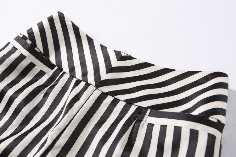 Beige Blanc Jambe Été Longueur Bande Pocketloose Veau 2017 De Stripe Noir Large Jambes Pantalon Qualité Haute Automne Femmes 7WcvCyE