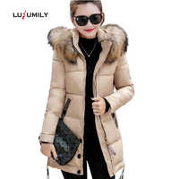 Lusumily Fur Collar Winter Parkas Women Cotton Padded Coat Thickening Jacket Female Slim Hooded Zipper Warm Outerwear Overcoat