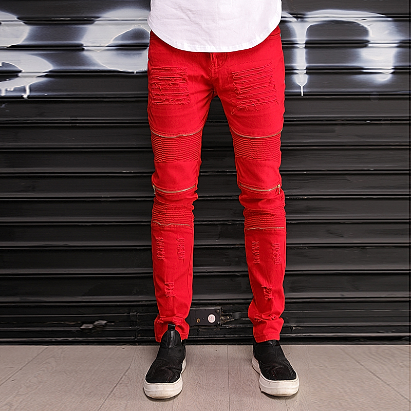 New Slim Knee Holes Pleated Multiple Zipper Ripped Men Biker Jeans Hop Hip Motorcycle Destruction RED White Denim Pants