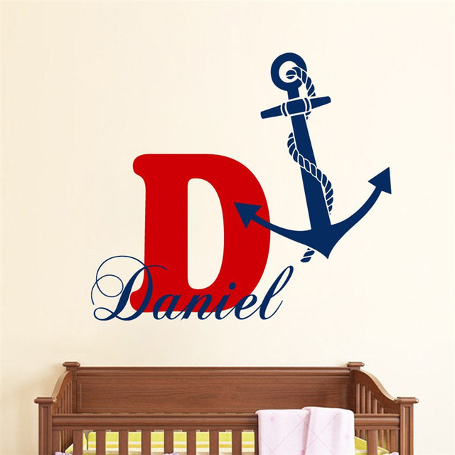 T05019 eco friendly personalized decal anchor vinyl stickers custom boy name monogram wall decals bedroom