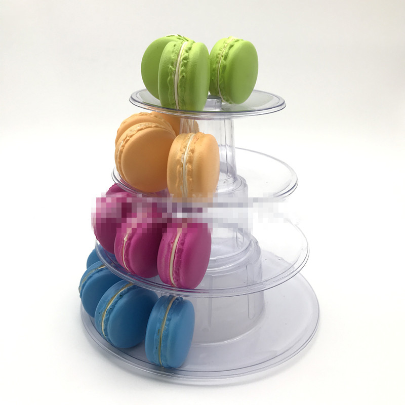 Multi function Macarons Display Stand 4 Tier Round Macaron Tower Cake Stand PVC Tray Display Rack