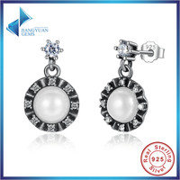 Hot Sale 925 Sterling Silver Elegant Pearl Earrings Push Back Women Zirconia Earrings Jewelry Party Gifts
