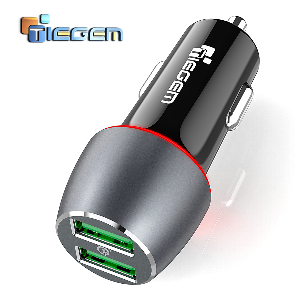 TIEGEM 36W Quick Charge 3.0 Dual USB Car Charger Universal Travel Car-Charger Mobile Phone Charger Adapter for iPhone X Samsung
