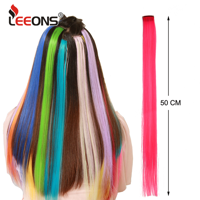 Leeons  Long Straight Women High Temperature Synthetic Clip In Hair Extension Hairpiece Purple Pink Red Blue Rose Colorful