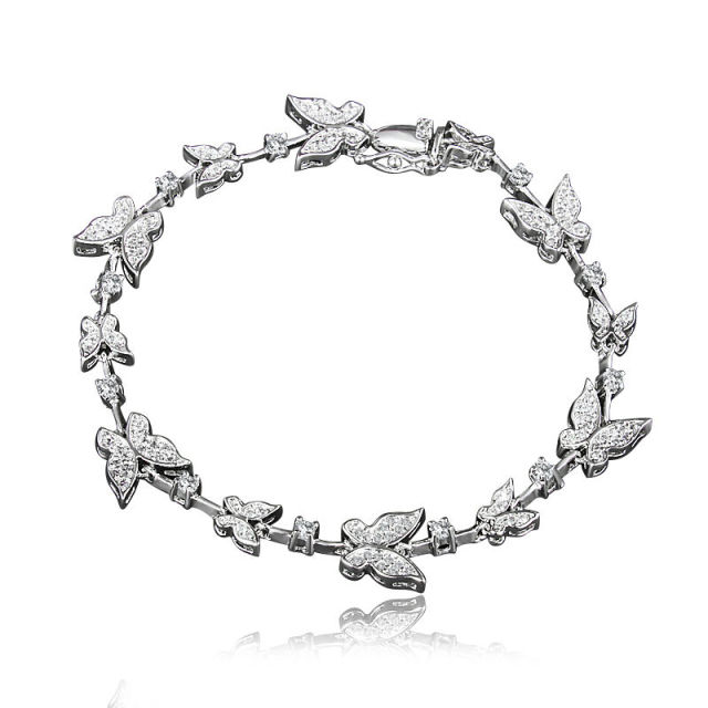 High Level White Gold Plating Butterfly Charm Bracelet for Women